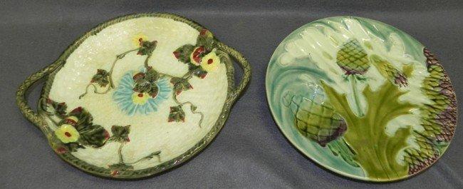 22: (2) pieces of 19th century Majolica.