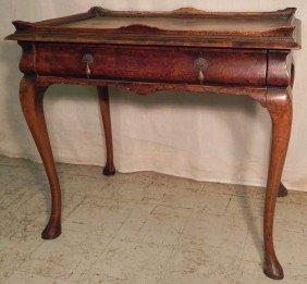 19th C. Burl Walnut Queen Anne Tea Table.
