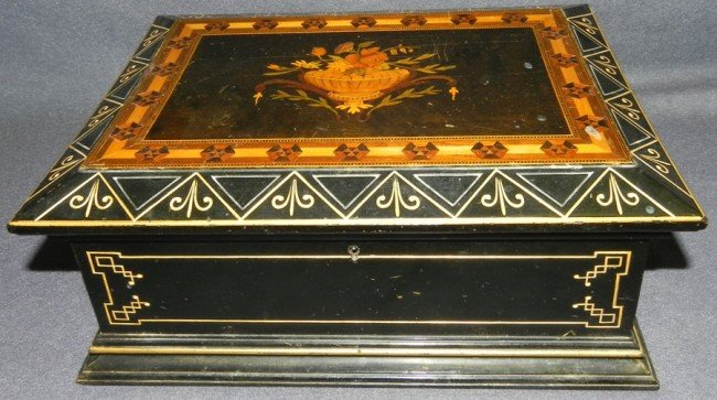 26: Inlaid and gold decorated Victorian fitted box.