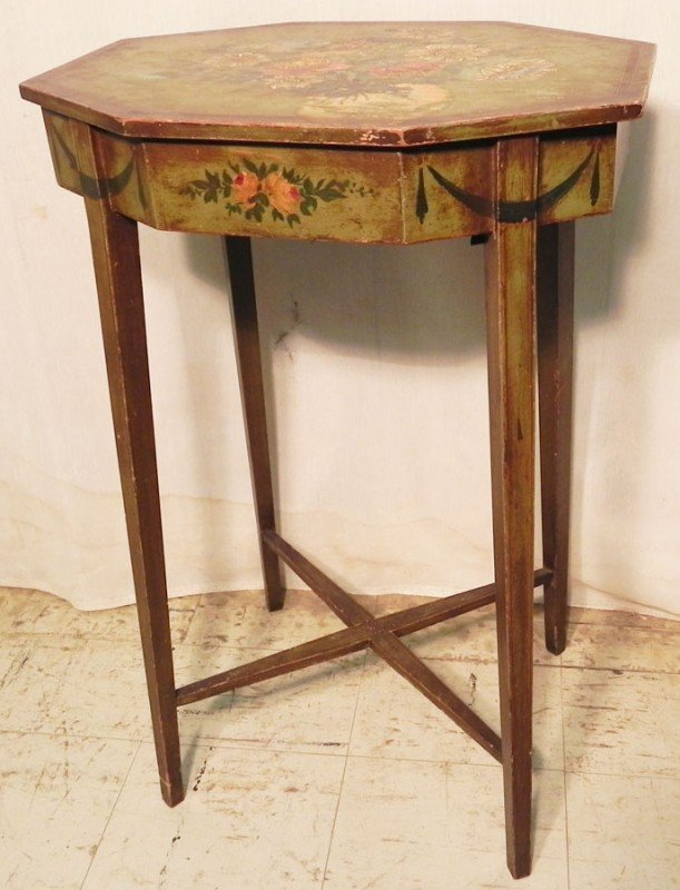 28: Hand painted Adams style sewing stand.