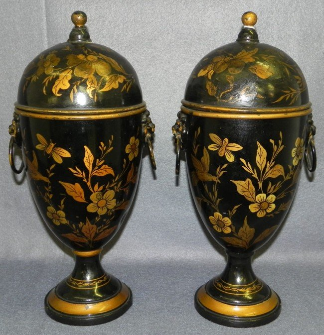 "34: Pair  of hand painted brass urns. 14"" tall."