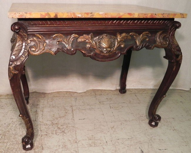 35: French style marble top console.