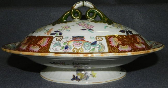 40: Ironstone decorated covered vegetable dish