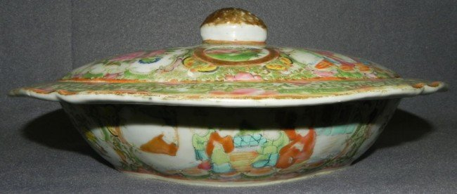 47: 19th century Rose Medallion covered dish.