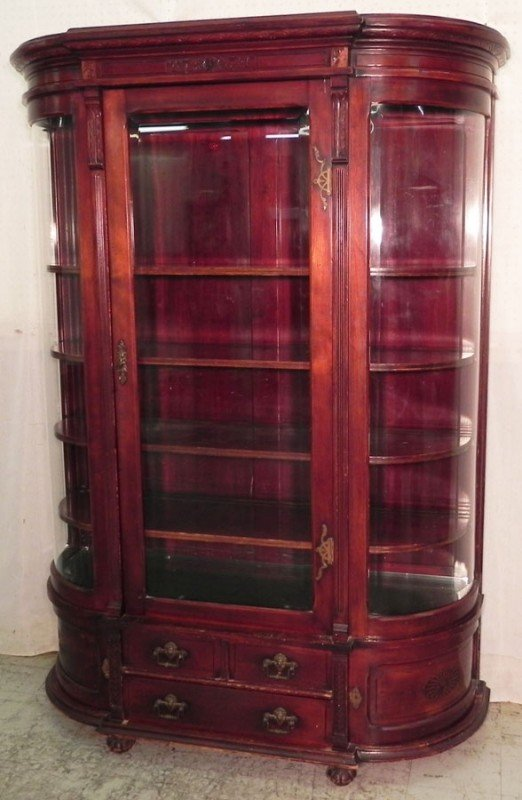 171A: 19th century curved glass china cabinet.