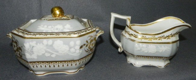 174: Early Spode sugar bowl and cream pitcher.