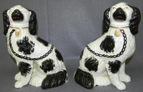 Pair Of Black And White Staffordshire Spaniels.