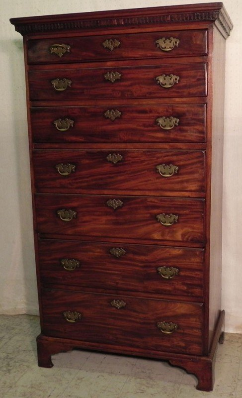 182: 7 drawer tall Irish Chippendale chest.
