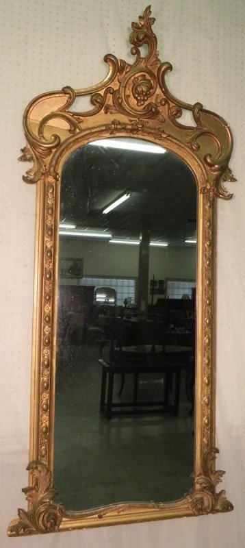 183: Gold leaf French Victorian mirror.