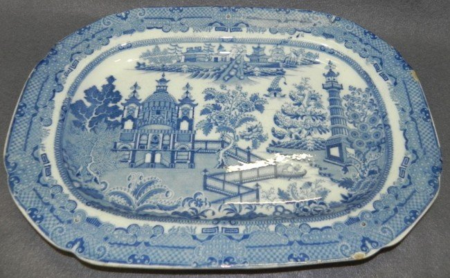 189: Early English soft paste platter decorated