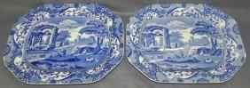 Pr. Soft Paste English Transfer Bl & Wh Platters