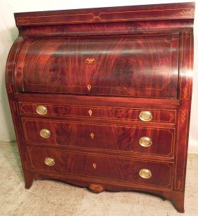 Cylinder Roll Eagle Inlaid Baltimore Desk