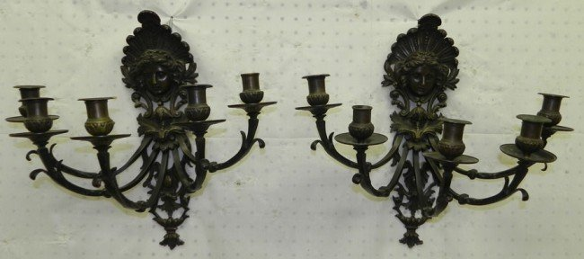 216: Pair of Victorian bronze jeliff type sconces.