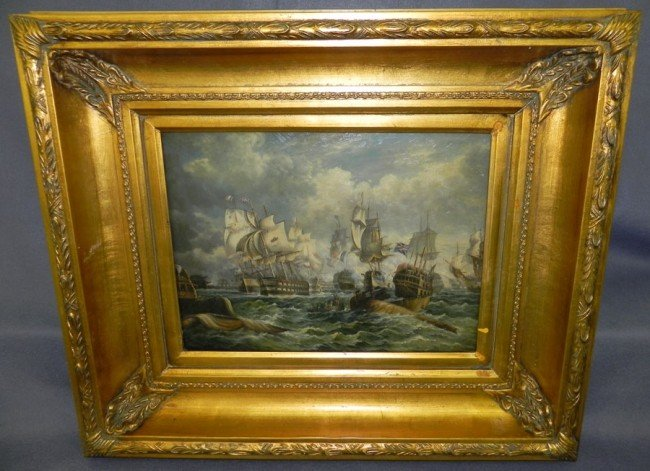 230: Contemporary painting of naval battle scene.