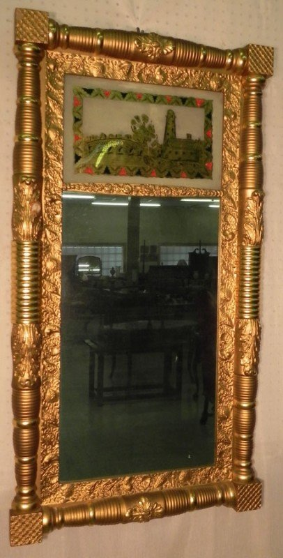 236: American Adams mirror with reverse painting.