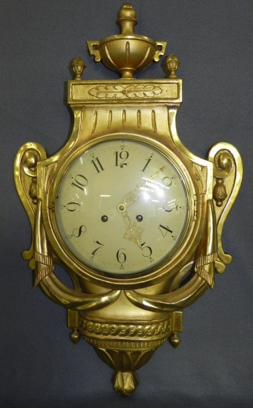 238: Gold décor. hand carved Fr. style wall clock.