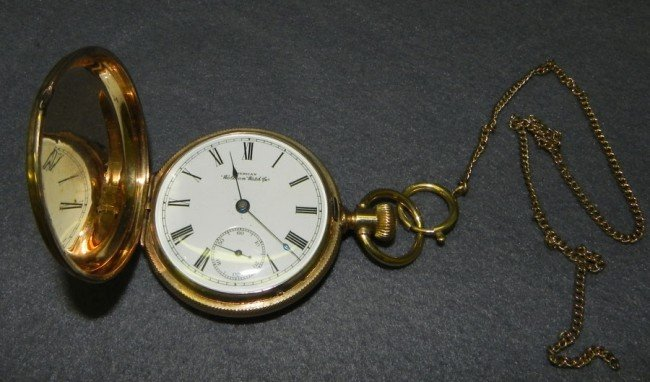 531: 18K case pocket watch w/ Masonic case