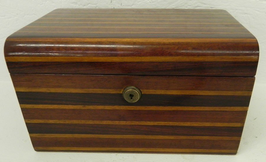"11: Inlaid dresser box. 7"" x10"" x 5 3/4""."