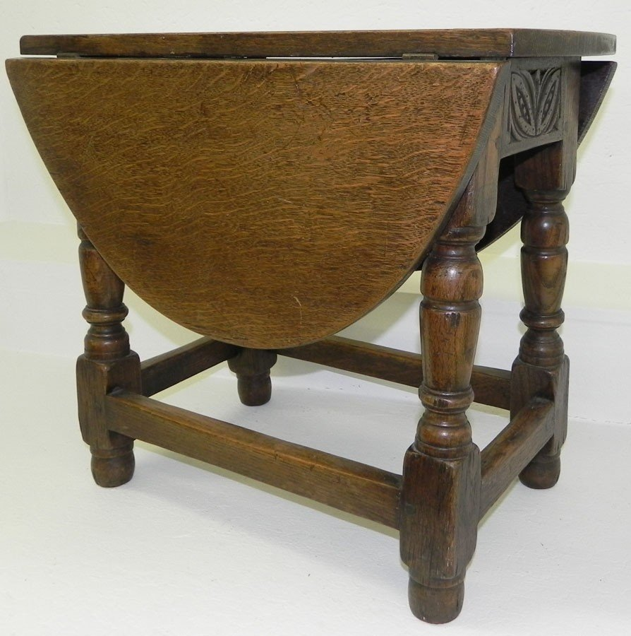 12: English oak jointed drop leaf  tea table.
