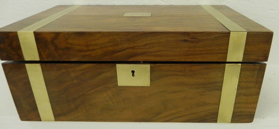 13: Brass bound walnut lap desk w/ ink bottles