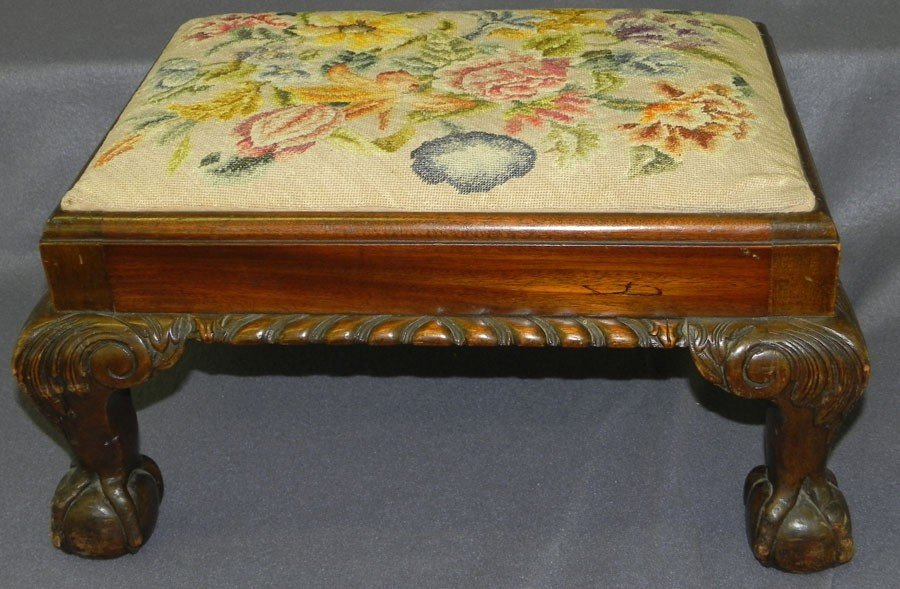 16: Ball and claw foot mahogany Chippendale stool