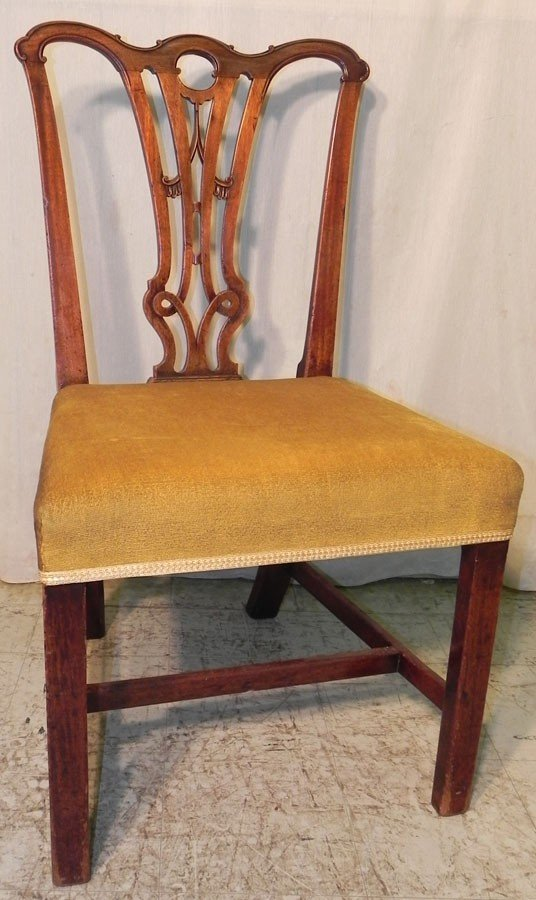 20: 18th c mahog pierced splat Chippendale chair.