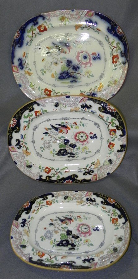 23: (3) 19th century decorated Ironstone platters