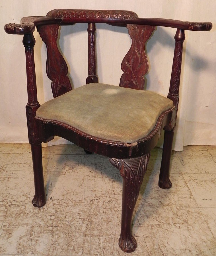 26: 18th c mahog corner chair w/ eagle head arms.