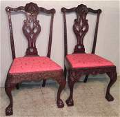 385 Pair of mahogany Chippendale side chairs