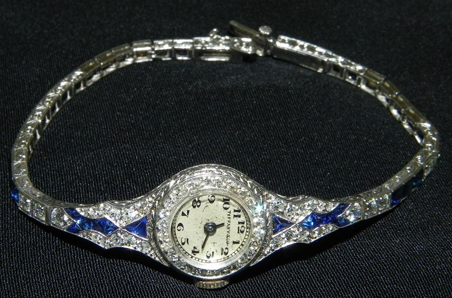 671: Antique platinum sapphire & diamond wristwatch