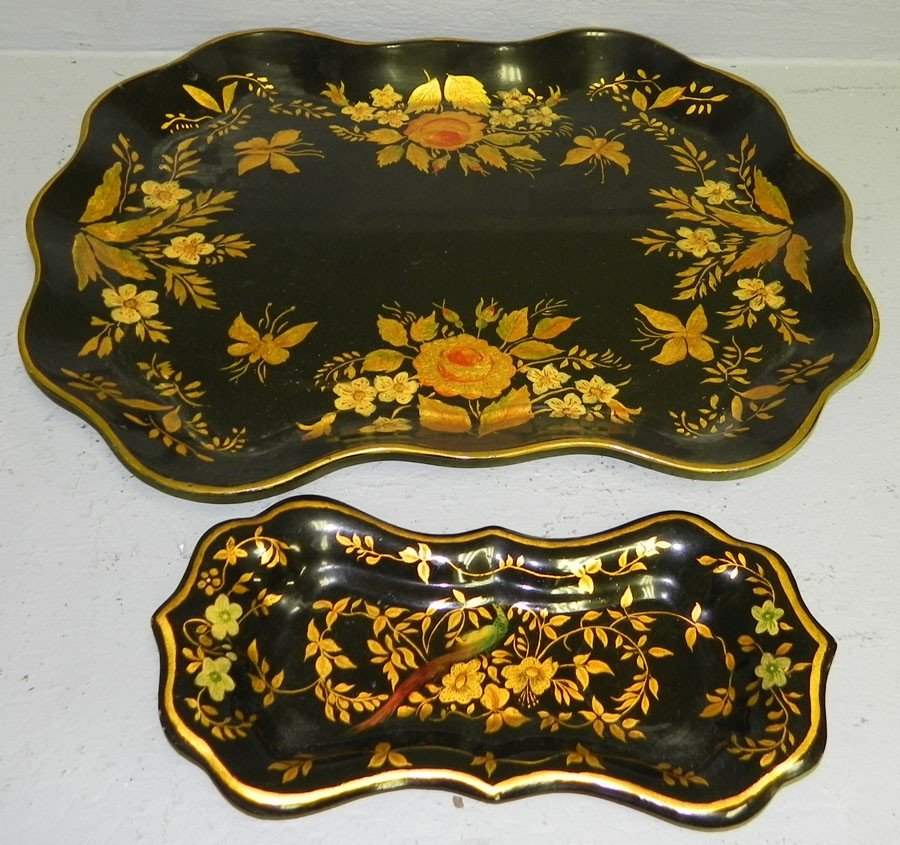 1: Painted snuffer tray & scalloped edge tray.