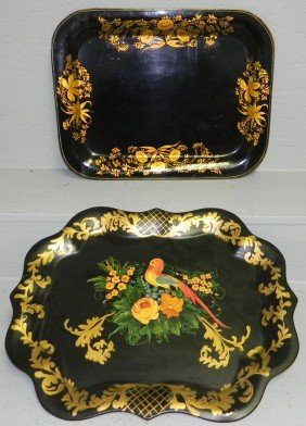 (2) Tole Painted Trays (1 Is Signed M. Binney)