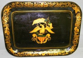 3: Tole painted tray, signed M. Binney.