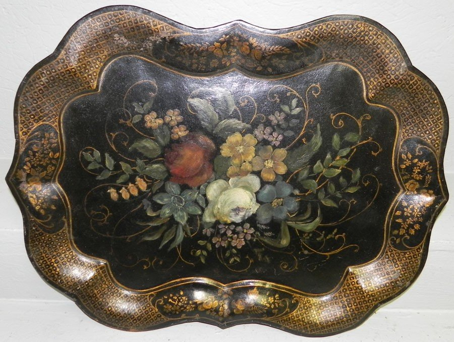 4: Early scalloped edge Tole painted tray.