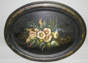 "Early Tole Oval Tray. 23"" X 28 1/2""."