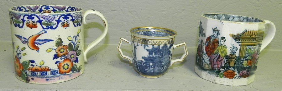 10: (2) mugs and (1) early blue and white export cup.