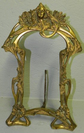 "Art Noveau Early Brass Frame. 9 1/4"" X 16""."