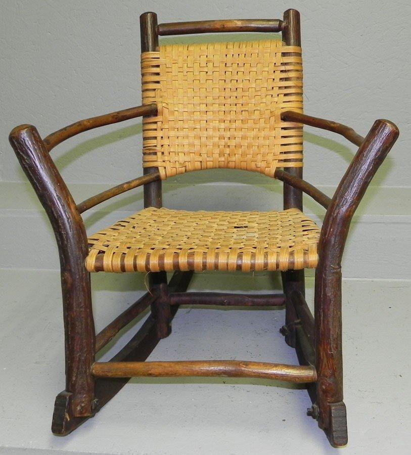 19: Child's hickory rush seat chair.