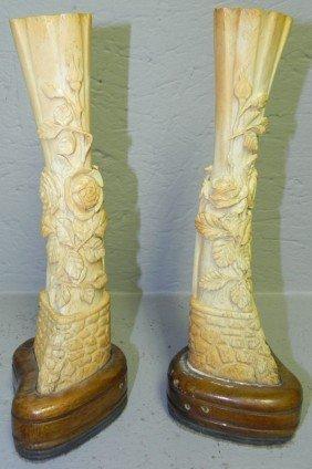 20: Pair of ivory or bone carved spill vases.