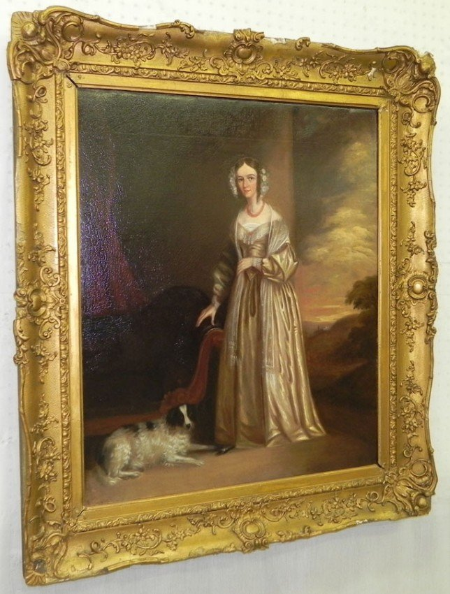 506: Oil on canvas of lady with dog by Recamier.