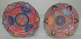 """3: Pair hand painted Turkish chargers (12"""")"""