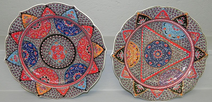 "3: Pair hand painted Turkish chargers (12"")"