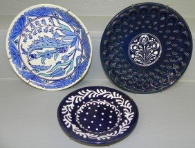 8: Turkish plate and two stoneware plates