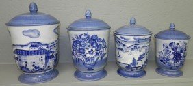 18: (4) Pc blue and white Earthenware canister set