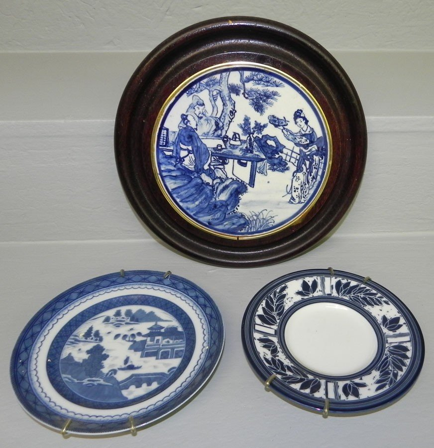 20: Framed Canton plaque and Mottahedah plate
