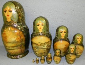 21: Set of 10 stacking Russian lacquer dolls