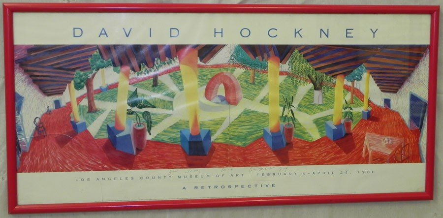 "217: Poster signed David Hockney ""Retrospective"""
