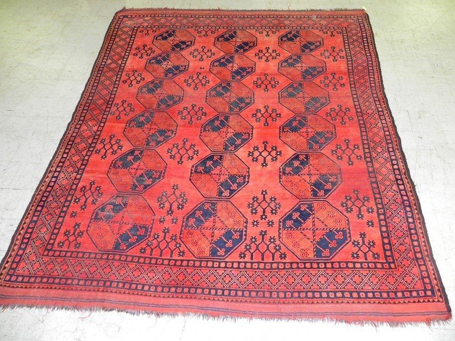 "25: 9'9"" x 8'6"" Antique Afghan rug."