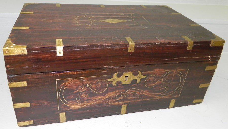 27: Inlaid rosewood brass bound fitted box