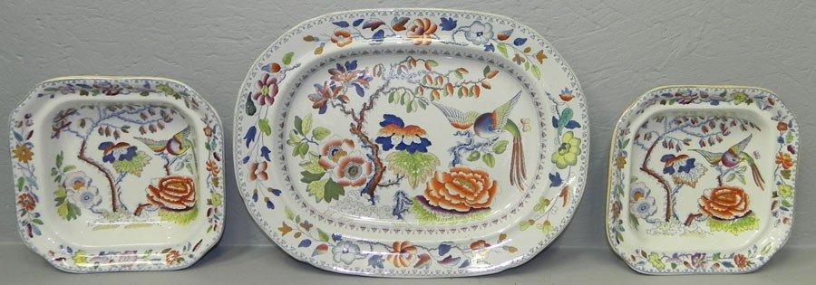 38: Platter & two small bowls - masons ironstone